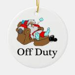 Off Duty Tired Santa Christmas Ornaments