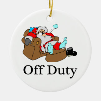 Off Duty Tired Santa Double-Sided Ceramic Round Christmas Ornament
