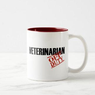 OFF DUTY VETERINARIAN Two-Tone COFFEE MUG