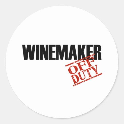 OFF DUTY WINEMAKER LIGHT CLASSIC ROUND STICKER