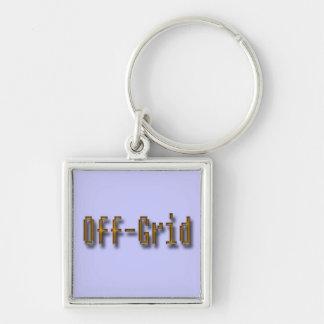 Off Grid Orange Silver-Colored Square Keychain
