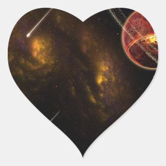 Off in Space Heart Sticker