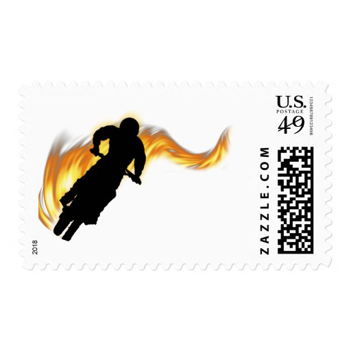 Off Road Bike with Flames Stamp