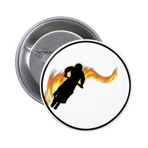 Off Road Dirt Bike with Flames 2 Inch Round Button