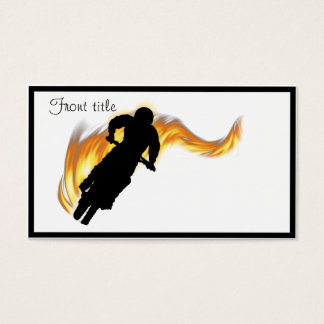 Off Road Dirt Bike with Flames Business Card