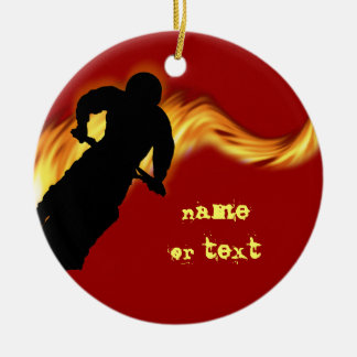 Off Road Dirt Bike with Flames Ceramic Ornament