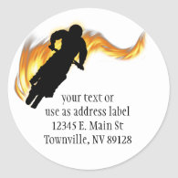 Off Road Dirt Bike with Flames Classic Round Sticker