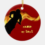 Off Road Dirt Bike with Flames Double-Sided Ceramic Round Christmas Ornament