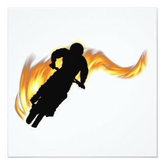 """Off Road Dirt Bike with Flames 5.25"""" Square Invitation Card"""