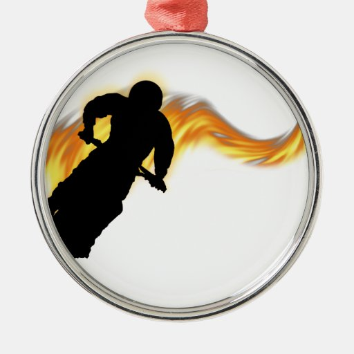 Off Road Dirt Bike with Flames Round Metal Christmas Ornament
