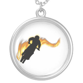 Off Road Dirt Bike with Flames Silver Plated Necklace