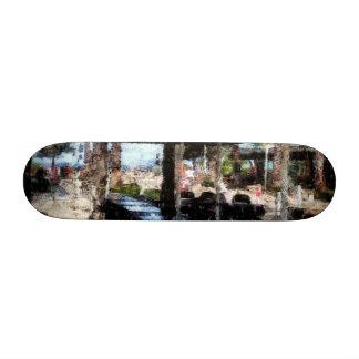 Off-time in a restaurant skate board decks
