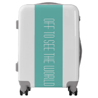 Off to See the World Teal and White Travel Luggage