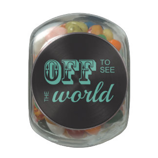 Off to See the World - Teal - For the Adventurer Glass Jar