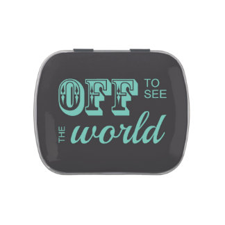 Off to See the World - Teal - For the Adventurer Candy Tins
