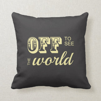 Off to See the World - Yellow - For the Adventurer Throw Pillow