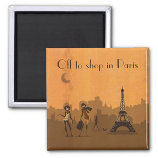 off to shop in Paris 2 Inch Square Magnet