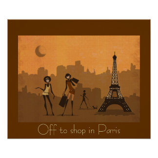 off to shop in Paris Print