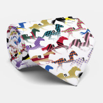 Off to the Horse Races Jockey Silk Pattern Neck Tie