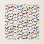 """Off to the Horse Races Jockey Silk Pattern Scarf<br><div class=""""desc"""">Off to the Horse Races Jockey Silk Pattern Design made from horse silhouette racing in 13 different jockey silk colors combos on a white background.</div>"""