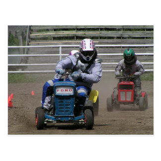 Off to the races -lawnmower races! postcard