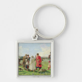 Off to the Zaporozhian Host, 1889 Silver-Colored Square Keychain