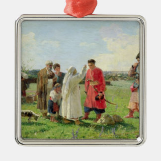 Off to the Zaporozhian Host, 1889 Square Metal Christmas Ornament