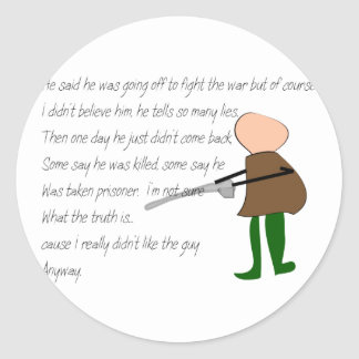 """""""Off to War""""--Story Art Gifts Round Stickers"""
