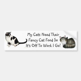 Off to Work I Go Cat Bumper Sticker