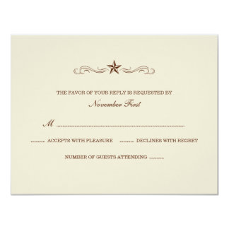 Off-white and Brown Western RSVP (NO BORDER) Card