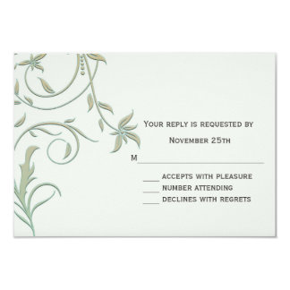 Off White and Green Vines Wedding RSVP Reply 3.5x5 Paper Invitation Card