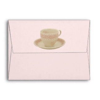Off White and Pink Teacup Envelope