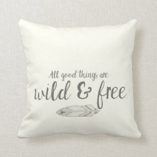 "Off White Bohemian Feather ""Wild and Free"" Pillow"