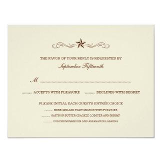 Off-white & Brown Western RSVP (MENU & NO BORDER) Card