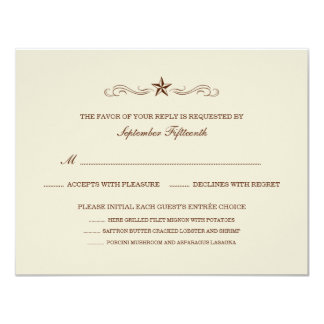 Off-white & Brown Western RSVP (MENU & NO BORDER) Invitations