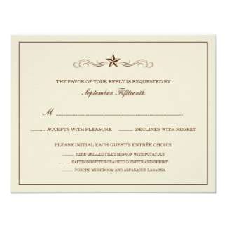Off-white & Brown Western RSVP (WITH MENU ITEMS) Card
