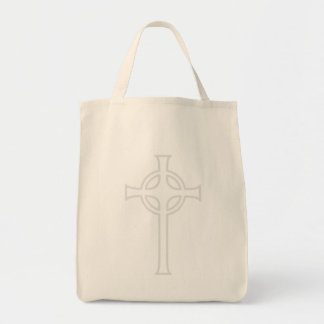 Off-White Celtic Christian Cross Tote Bag