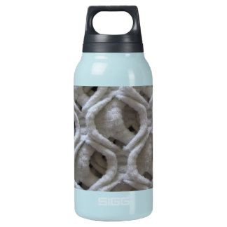 Off-White Colored Crochet Fabric Look Insulated Water Bottle