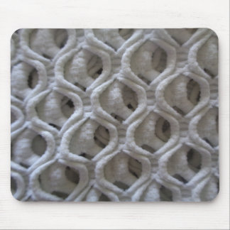 Off-White Colored Crochet Fabric Look Mouse Pad