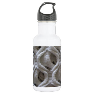 Off-White Colored Crochet Fabric Look Stainless Steel Water Bottle