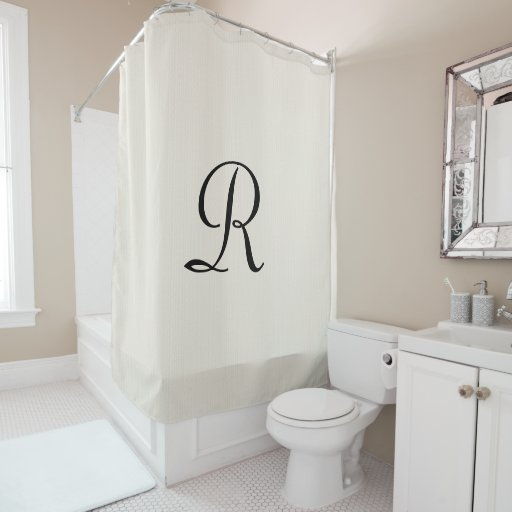off white faux burlap shower curtain monogram zazzle. Black Bedroom Furniture Sets. Home Design Ideas