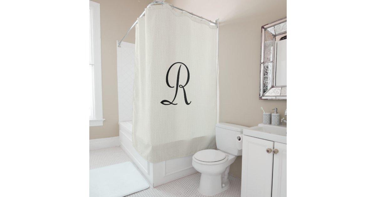 off white faux burlap shower curtain monogram. Black Bedroom Furniture Sets. Home Design Ideas
