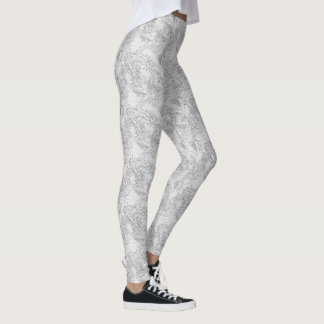 Off White Fine Lace Elegant Texture Leggings