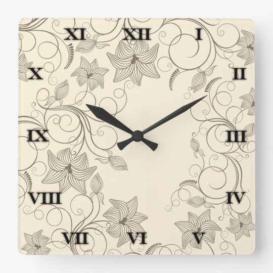 Off White Flowers - Clock - 1