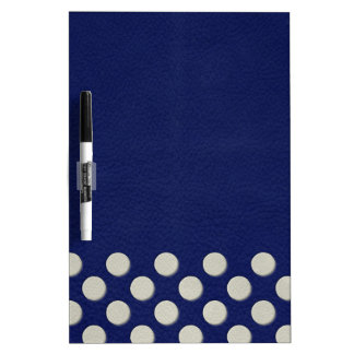 Off White Polka Dots on Navy Blue Leather Texture Dry-Erase Whiteboard