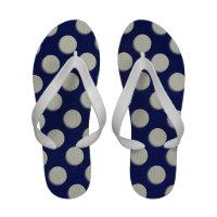 Off White Polka Dots on Navy blue Leather Texture Flip Flops (<em>$39.95</em>)