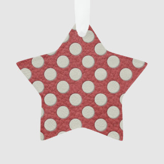 Off White Polka Dots on Red Leather Print