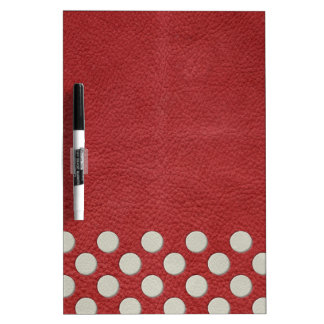 Off White Polka Dots on Red Leather Texture Dry-Erase Boards
