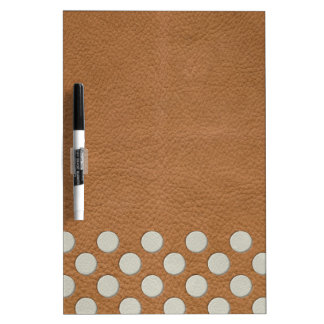 Off White Polka Dots on Tan Leather Texture Dry-Erase Whiteboards