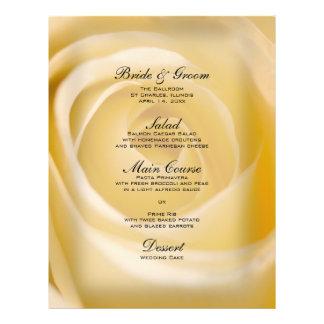 Off White Rose Flower Wedding Menu